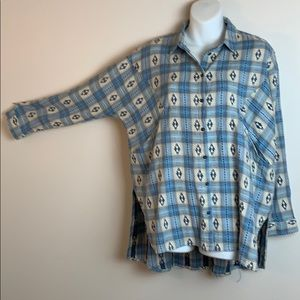 Top Shop Plaid Button Down Shirt With Pockets